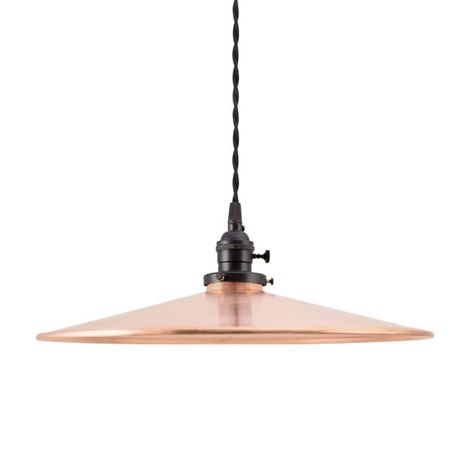 "15"" Circle B Industrial Pendant, 995-Raw Copper, UK-Black Socket with Knob Switch, TBW-Black Cotton Twist Cord"