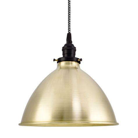 """10"""" Getty Dome Shade, 997-Raw Brass, Black Socket with No Switch, CSBW-Black & White Cloth Cord"""