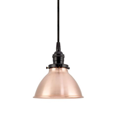 """6"""" Getty Dome Shade, 995-Raw Copper, Black Socket with No Switch, SBK-Standard Black Cord"""