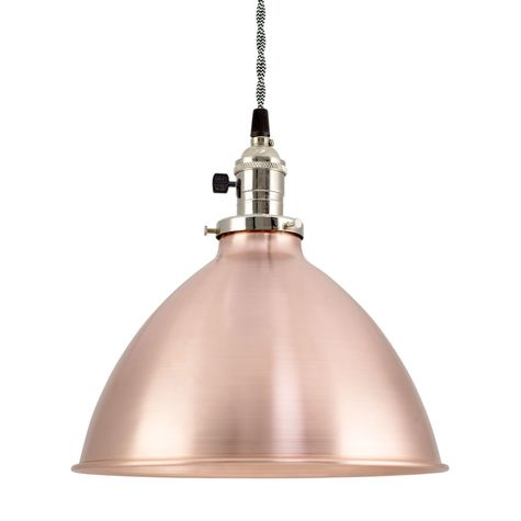 """10"""" Shade, 995-Raw Copper, Nickel Socket with Paddle Switch, TBW-Black & White Twist Cord"""