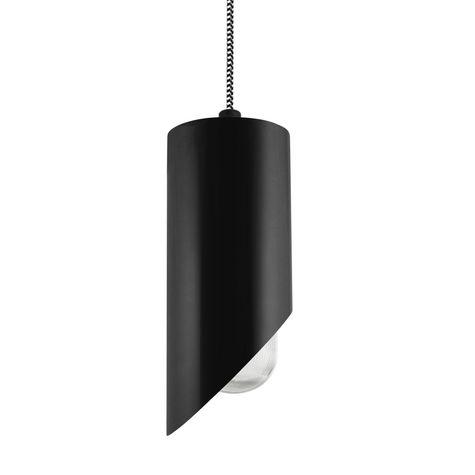 Milan LED Pendant, 100-Black, CSBW-Black & White Cloth Cord, RIB-Ribbed Glass