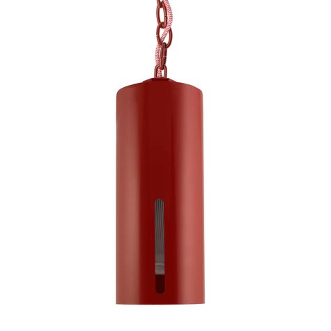 Venice LED Chain Hung Pendant, 400-Barn Red, Red Chain with CRZ-Red Chevron Cord, Standard Single Slot, RIB-Ribbed Glass