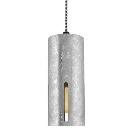 Venice LED Pendant, 975-Galvanized, Four Standard Slots, CSBW-Black & White Cloth Cord, HCR-Honey Crackle Glass