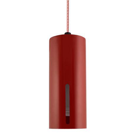 Venice LED Pendant, 400-Barn Red, CSRW-Red & White Cloth Cord, Standard Single Slot, RIB-Ribbed Glass