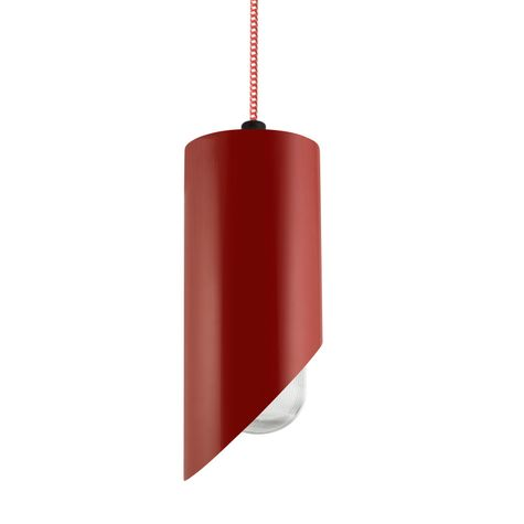 Large Milan Pendant, 400-Barn Red, CSRW-Red & White Cloth Cord, RIB-Ribbed Glass