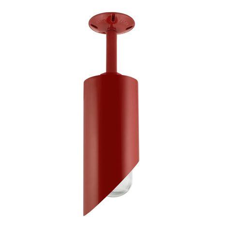 Large Milan Stem Mount Pendant, 400-Barn Red, RIB-Ribbed Glass