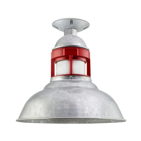 "12"" Outback LED, 975-Galvanized with 400-Barn Red Guard, FST-Frosted Glass"