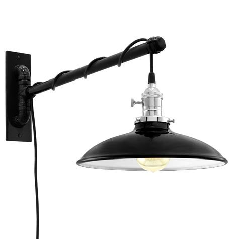 Skylark Swing Arm Sconce, 100-Black, Nickel Socket with Knob Switch, Arm in 100-Black, SBK-Standard Black Cord, Nostalgic Edison-Style 40W Victorian Bulb