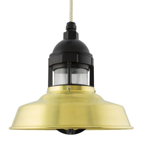 "12"" Sydney LED, 997-Raw Brass with 100-Black Guard, No Cap, RIB-Ribbed Glass, CSGW-Gold & White Cloth Cord"