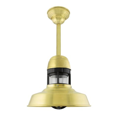 """12"""" Sydney LED, 997-Raw Brass with 100-Black Guard, With Cap, RIB-Ribbed Glass, 6"""" Stem, Decorative Canopy Cover"""