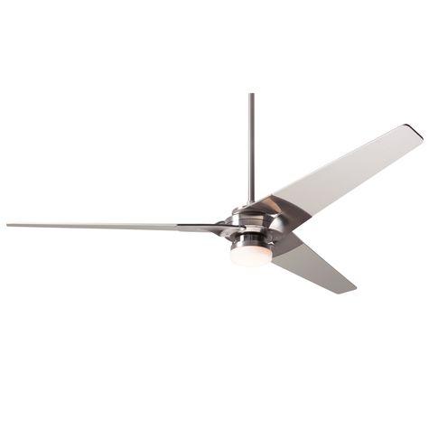 Torsion Ceiling Fan, Bright Nickel, Nickel Blades, Light Option