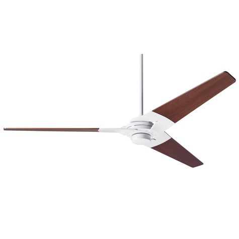 Torsion Ceiling Fan, Gloss White, Mahogany Blades