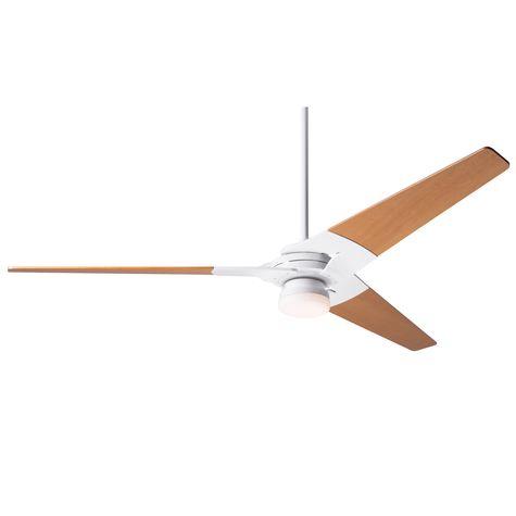 Torsion Ceiling Fan, Gloss White, Maple Blades, Light Option