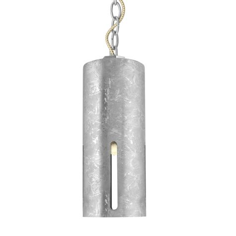 Large Venice Chain Hung Pendant, 975-Galvanized, Galvanized Chain with CSGW-Gold & White Cloth Cord, Four Standard Slots, Shown with Edison Bulb