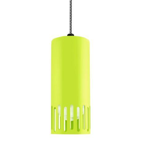 Venice LED Pendant, 380-Chartreuse, CSBW-Black & White Cloth Cord, Staggered Slot, RIB-Ribbed Glass