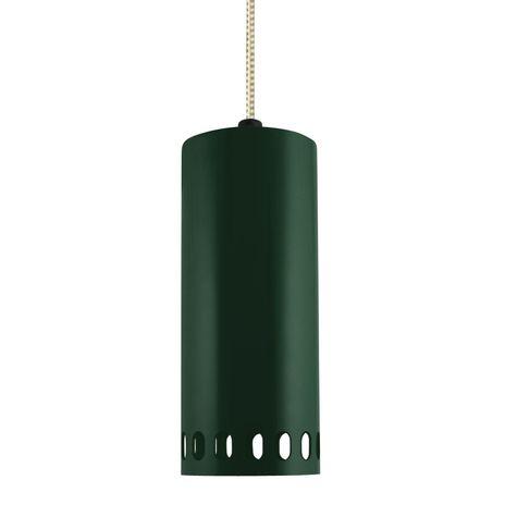 Venice LED Pendant, 300-Dark Green, CSGW-Gold & White Cloth Cord, Oval Slots