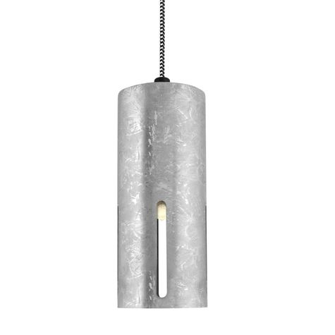 Large Venice Pendant, 975-Galvanized, CSBW-Black & White Cloth Cord, Four Standard Slots, No Glass, Shown with Edison Bulb