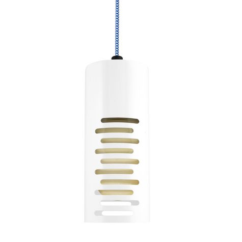 Large Venice Pendant, 200-White, CSUW-Blue & White Cloth Cord, Stacked Slots, HCR-Honey Crackle Glass