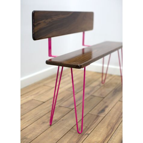 Vivianne Bench, With Backrest, NW-Natural Walnut, 490-Magenta