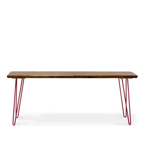 Vivianne Bench, No Backrest, NW-Natural Walnut, 400-Barn Red