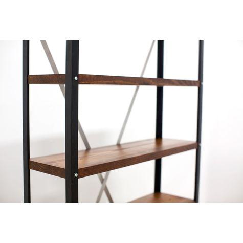 Lincoln Adjustable Bookshelf, MP-Mahogany Pine, 100-Black (Close Up)
