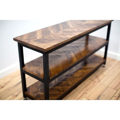Chevron Console Table, NW-Natural Walnut, 100-Black (Close Up)