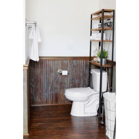 Jax Toilet Shelf, MP-Mahogany Pine, 100-Black (Also Shown: Industrial Toilet Paper Holder)