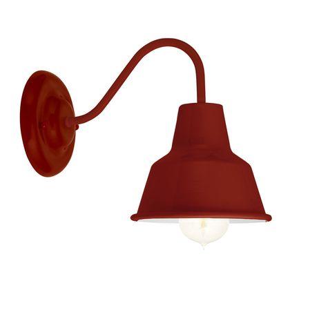 Barn Light Mini Artesia Sconce, 400-Barn Red, G33 Mini Gooseneck Arm | Shown with Nostalgic Edison Bulb
