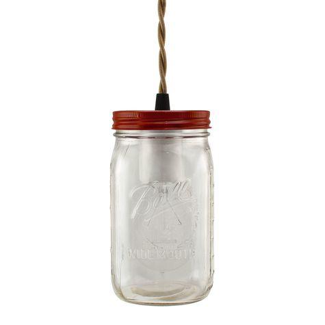 Ball Jar Pendant, Lid in 400-Barn Red, TBR-Brown Twist Cord, Nostalgic Edison-Style Victorian 25W Bulb