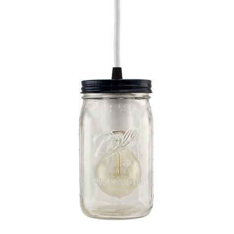 Ball Jar Pendant, Lid in 705-Navy, CSW-White Cloth Cord, Nostalgic Edison-Style Victorian 25W Bulb
