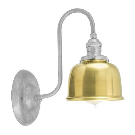 Fargo Wall Sconce, 997-Raw Brass Shade, 975-Galvanized Mounting, No Switch