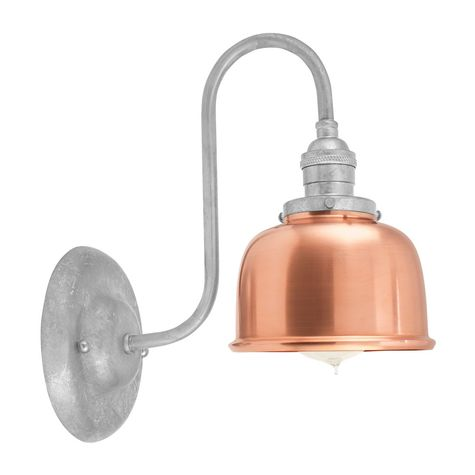 Fargo Wall Sconce, 995-Raw Copper Shade, 975-Galvanized Mounting, No Switch