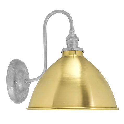 "10"" Getty Dome Shade Sconce, 997-Raw Brass Shade Finish, 975-Galvanized Mounting Finish, No Switch"