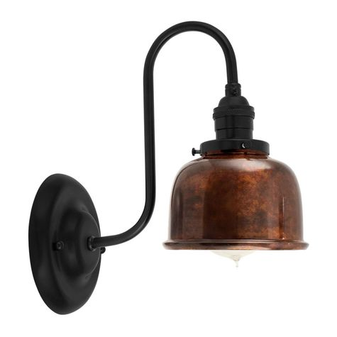 Fargo Wall Sconce, 999-Oil-Rubbed Copper Shade, 100-Black Mounting, No Switch