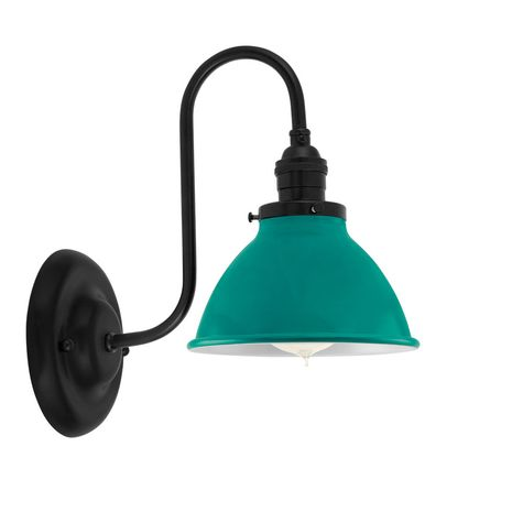 """6"""" Getty Sconce, 390-Teal, Mounting in 100-Black"""