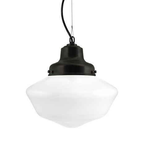 Schoolhouse LED, Large Glass, No Stripe, SBK-Standard Black Cord