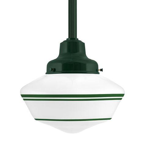Schoolhouse LED, Large Glass, Triple Stripe in 307-Emerald Green, Fitter in 300-Dark Green, Mounting in 300-Dark Green