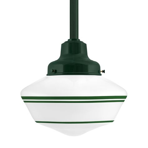 Schoolhouse LED, Large Glass, Triple Stripe in 307-Emerald Green, Fitter in 300-Dark Green, Mounting in 300-Dark Green