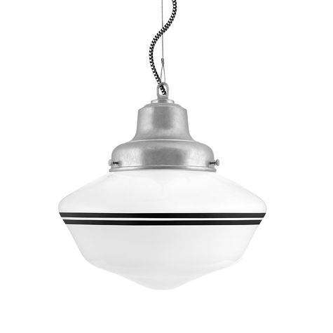 Schoolhouse LED, Double Stripe in 100-Black, Fitter in 975-Galvanized, CSBW-Black & White Cloth Cord