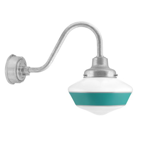 Schoolhouse LED, Large Glass, Single Stripe in 390-Teal, Fitter in 975-Galvanized, G11 Gooseneck Arm in 975-Galvanized