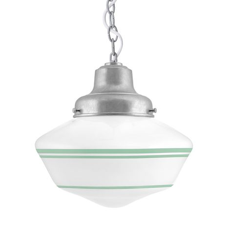 Schoolhouse LED, Large Glass, Triple Stripe in 311-Jadite, Fitter in 975-Galvanized, Chain in 975-Galvanized with SWH-Standard White Cord