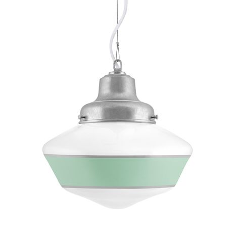 Schoolhouse LED, Single Stripe in 311-Jadite, Mounting in 975-Galvanized, SWH-Standard White Cord