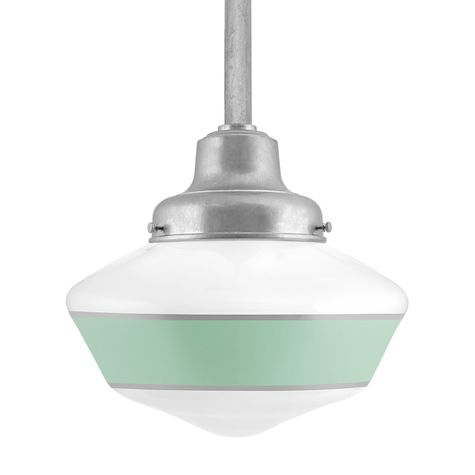 Schoolhouse LED, Large Glass, Single Stripe in 311-Jadite, Fitter in 975-Galvanized, Mounting in 975-Galvanized