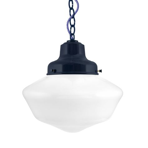 Schoolhouse LED, Large Glass, No Stripe. Fitter in 705-Navy, Chain in 705-Navy with CSUW-Blue & White Cloth Cord