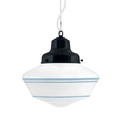 Schoolhouse LED, Large Glass, Triple Stripe in 715-Delphite, Mounting in 705-Navy, SWH-Standard White Cord