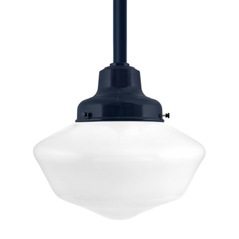Schoolhouse LED, Large Glass, No Stripe, Fitter in 705-Navy, Mounting in 705-Navy