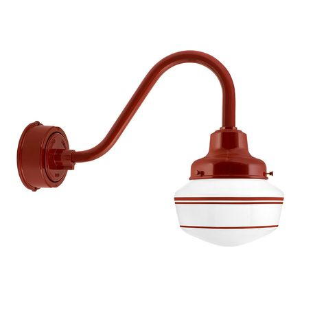 Schoolhouse LED, Small Glass, Triple Stripe in 400-Barn Red, Fitter in 400-Barn Red, G15 Gooseneck Arm in 400-Barn Red