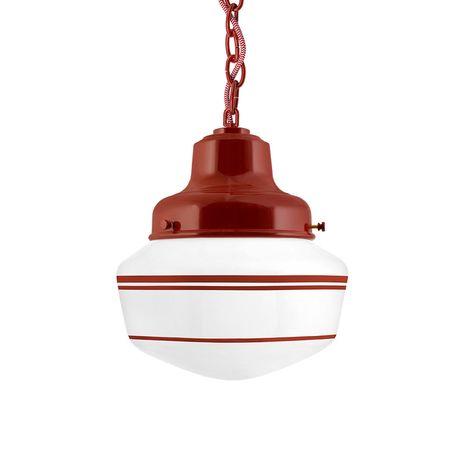 Schoolhouse LED, Small Glass, Triple Stripe in 400-Barn Red, Fitter in 400-Barn Red, Chain in 400-Barn Red with CRZ-Red Chevron Cord