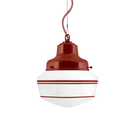 Schoolhouse LED, Small Glass, Triple Stripe in 400-Barn Red, Fitter in 400-Barn Red, CRZ-Red Chevron Cord