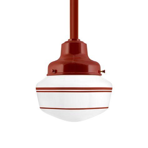 Schoolhouse LED, Small Glass, Triple Stripe in 400-Barn Red, Fitter in 400-Barn Red, Mounting in 400-Barn Red